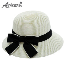 [AETRENDS] 2017 Summer Hats for Women Bow Tie Straw Sun Hat Panama Beach Cap Z-5125()
