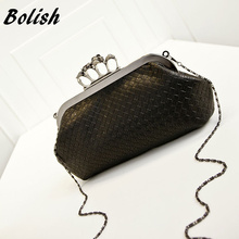 Bolish  New Handbag Woven Bag Skull Ring Chain Bag Handbag Shoulder Messenger Bag Evening Bag