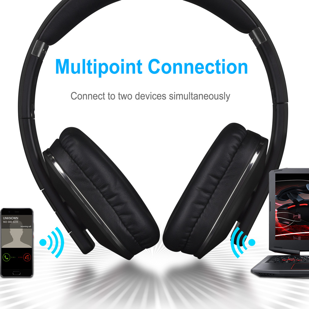 August EP650 Bluetooth Wireless Headohoens for 2 Devices - Black