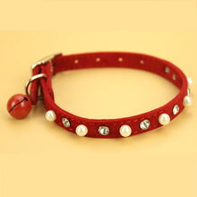 Clear Rhinestones Diamante Pearl Necklace Crystal Bling Dogs Pet Cat Collar with Belt Soft Suede Leather 4 Color