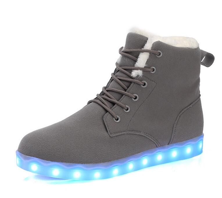real australia brand Men and women shoes colorful fluorescent shoes casual shoes high-top shoe lovers LED light snow boots 35-46<br><br>Aliexpress