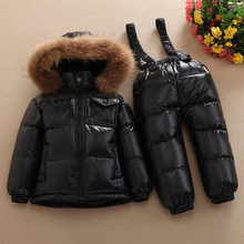 Boys winter Snowsuit fur winter girl suit duck down children clothing clothes sets warm toddler down parka jacket coat snow wear