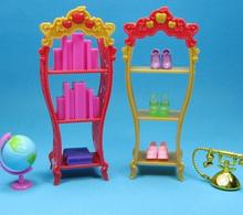 2pcs/lot Kids Playhouse Doll Furniture Plastic Shoes Rack For Barbie Doll House Storage Racks For Monster High Dolls