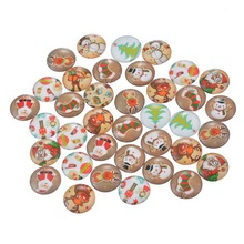 20PCs Random Mixed Christmas Glass Cabochon 12mm Patch Round Cabochon Flatback Scrapbooking Embellishment Settings DIY Jewelry