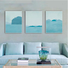 Triptych Modern Abstract Landscape Canvas A4 Art Print Poster Blue Beach Wall Pictures Living Room Home Decor Paintings No Frame(China)