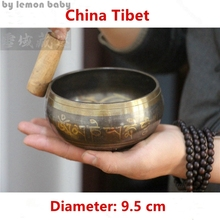 1 set Copper Buddha Sound Bowl Alms Bowl Yoga Chinese Tibetan Meditation Singing Bowl With Hand Stick Metal Crafts GPD8049
