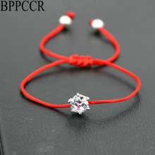 BPPCCR Women Silver Color Rhinestones Crystals AAA Zircon Lucky Braided Bracelet Thin Red Rope Thread String Bracelets Pulsears
