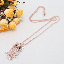 Fashion Sparkling Owl Crystal Pendant Necklace For Women Stylish Charming Silky Rhinestone Sweater Chain Lady Christmas Gift(China)