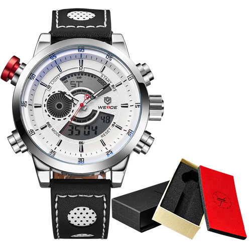 WEIDE Military Watches Men Luxury Brand Alarm Clock Japan Quartz Leather Strap Analog Digital Diving Men Wristwatch<br>