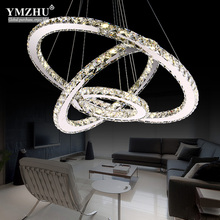 Modern ceiling stainless steel light crystal light dining-room lamp sitting room bedroom lamp light leds AC90-220V