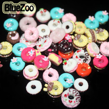 BlueZoo 50pcs/pack 13 Different Typs Cute Nail Art Resin Decoration Sweet Circle Decoration Free Shipping(China)