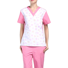 Medical Suits Top and Pant S-2XL Short-Sleeved Surgical Clothes V-neck Loose Brush Coat for Women Soft Beauty Salon Uniforms(China)