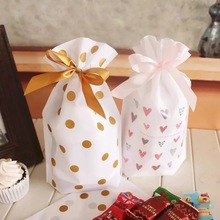 23.5*14.5cm 50pcs 2 style gold dot pink heart cute bag Cookie Snacks Chocolate Gift party Decoration Plastic Packaging Bags(China)