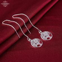 High quality wholesale women fashion jewerly silver plated earrings for women tree of life long earings for women brinco charms(China)