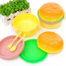 Hot Sale Hamburger shape plastic bento nooning box with fork Wonderful Gift(China)