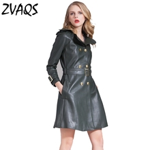 New 2017 high quality 100% genuine sheepskin leather jacket women long leather coat outwearbrand dark green belt fashion K3331(China)