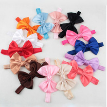30pcs girls satin ribbon bow headbands elastic hair bands pink bows DIY flower hair accessories for hair
