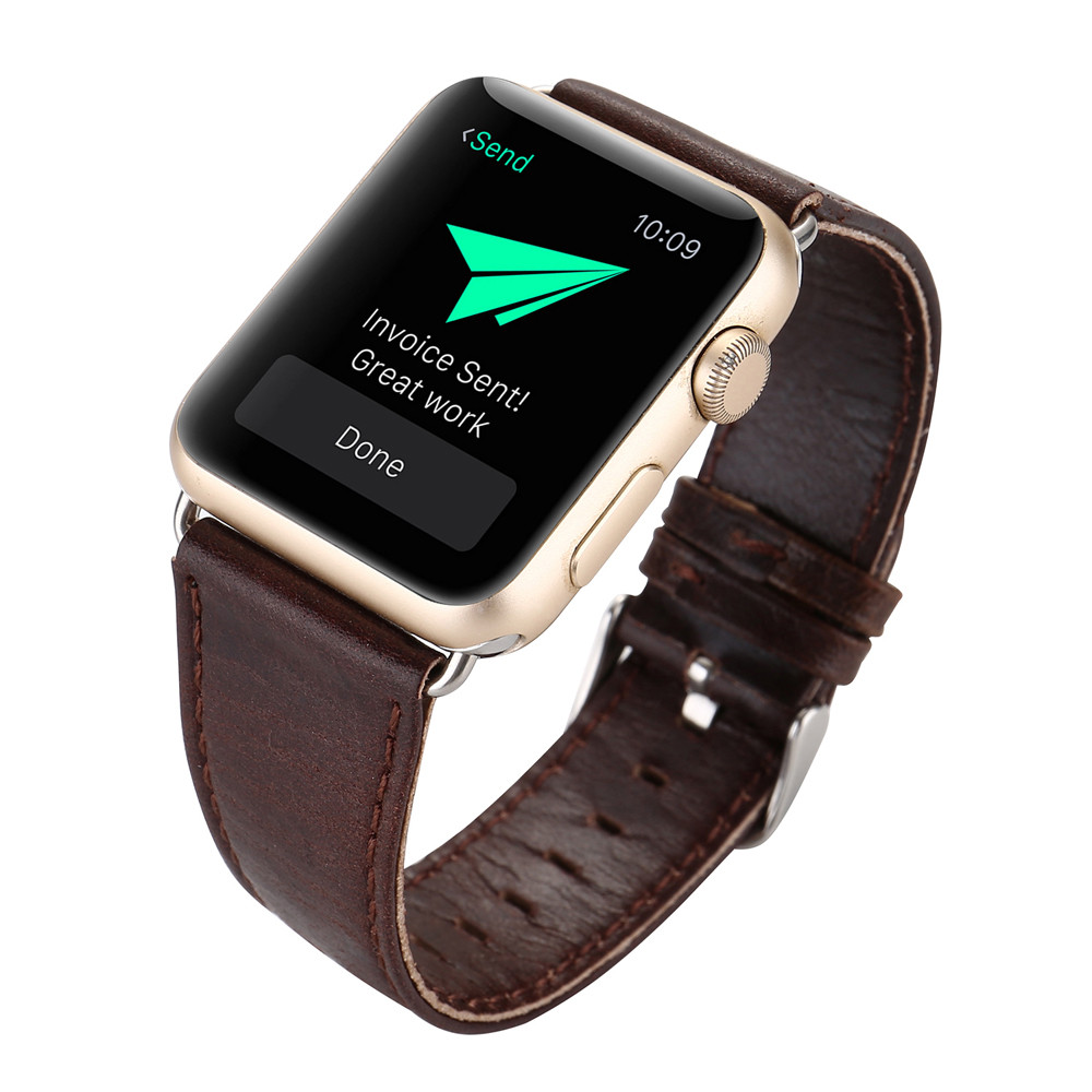 new product watches bracelet Dark Brown Leather Buckle Wrist Watch Band Strap Horses Belt for Watch Apple Watch accessories<br><br>Aliexpress
