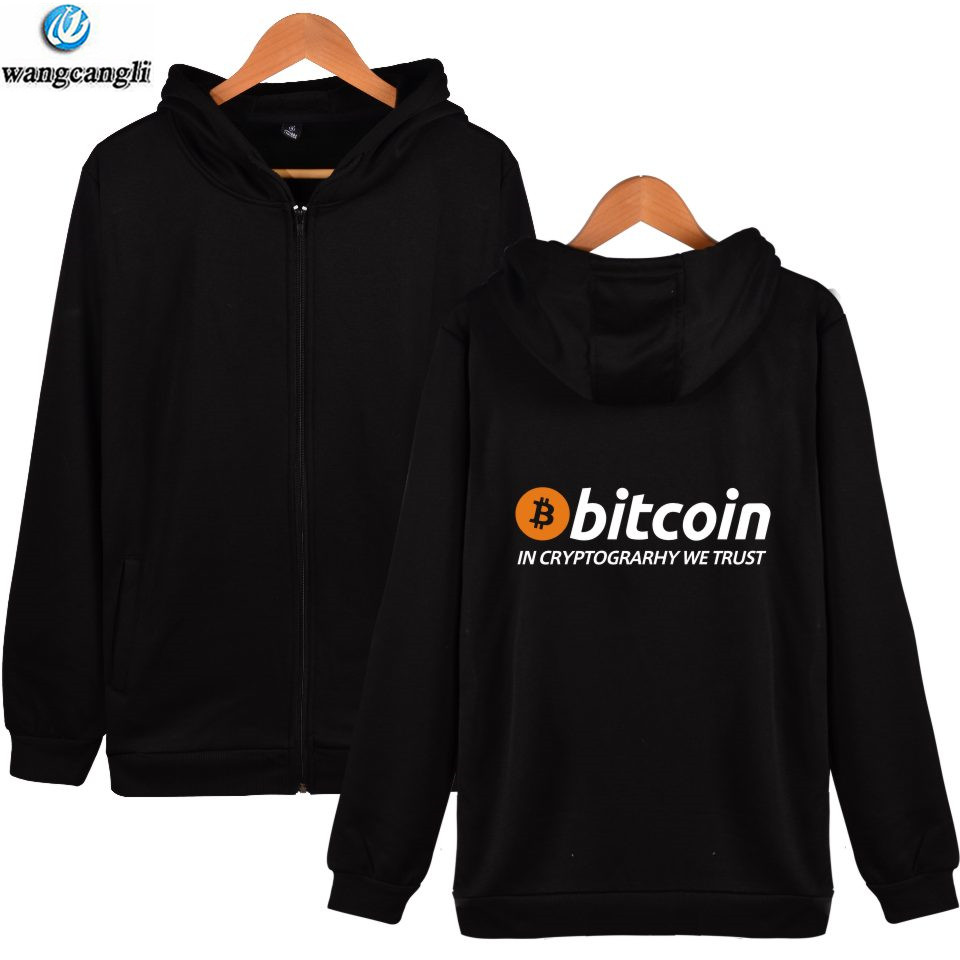 Bitcoin Hoodie Men Zipper Autumn Winter Fashion Hoodies Men Sweatshirt Casual Streetwear Virtual Currency Jacket