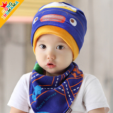 2 Pcs Set Baby Hat with Bibs Scarf Cute Kitty Newborn Boy Head-wear Sweet Cat Print Infant Girl Cap for Children 3-36M(China)