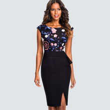 Buy Women Vintage Front Split Work Office Pencil Dress Summer Elegant Ruffles Embroidery Sheath Slim Bodycon Dress HB429 for $16.71 in AliExpress store
