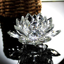 80mm White Crystal Lotus Flower Crafts Home Wedding Decoration Paperweight Quartz Ornaments Gifts Fengshui Souvenirs(China)