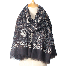 2017 Newest Top Skull Design Women Scarf Luxury Brand Cotton Scarves Shawl High Quality Print Bandana