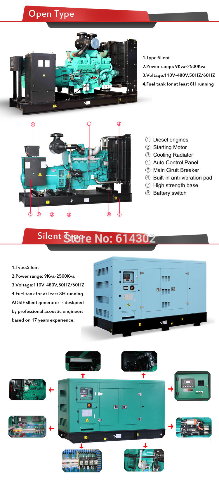 open and silent genset infor