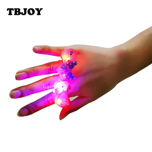 10pcs/lot Kids Cartoon LED Flashing Light Glowing Finger Rings Action Figures Light Up Rings Funny Toys Party Gifts for Children