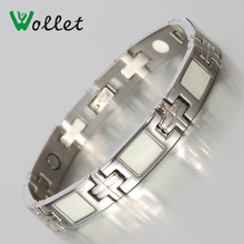 2015 negative ion infrared 4 in 1 stainless steel white shell magnetic and germanium bracelets for women