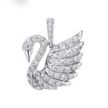 2016 Hot Free shipping100% 925 sterling Silver Gifts Women Necklace Fashion Classic Swan jewelry Romantic AAA Zircon Pendant