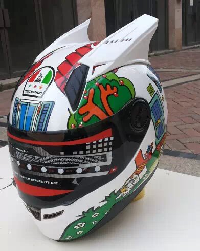 Motorcycle helmet Rossi malushun winter full face  motorcycle helmet off-road race helmet with horn<br><br>Aliexpress