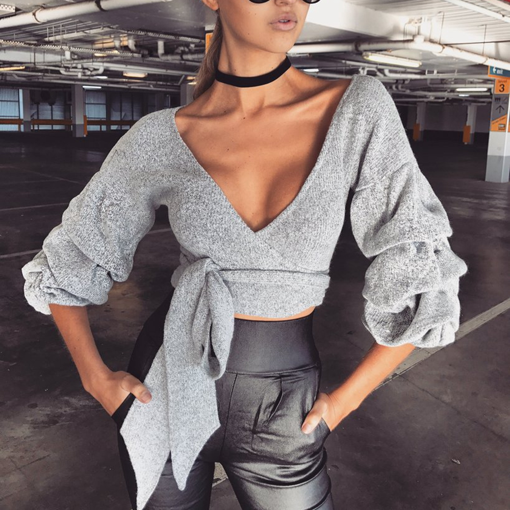 Chic Women Sweater 2018 New blue Sexy Deep V Neck Lace Up Long Sleeve  Knitted pullover jumpers ladies slim sweater coat tops  4307f9433