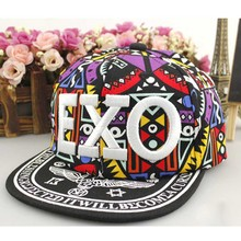 Embroidered Children Geometric Fabric EXO Hip-hop Baseball Cap Flat Along Fashion Print Youth Adjustable Free Size 2017