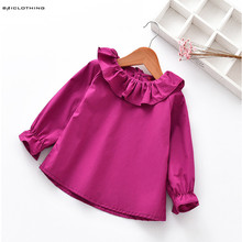 Girls Tops 2017 New Spring Clothes Children Solid Turn Down Ruffled Collor Long Sleeve Chlid Blouses Girls shirts For 2-6Y