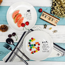 8 inch Simple Plate Bread Fruit Vegetable Dishes Round Ceramic Plates China Bone Pratos Dishes For Restaurant Dishes-019(China)