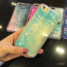 2017 Flowing Liquid Sand Glitter Bling Snowflake Snow Clear Shell Cases for iPhone 7 7 Plus 6 6s Plus Samsung Galaxy S7 S6 Edge(China)