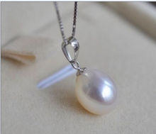 Fashion girl jewelry store >>>Natural 10x12mm AAA+south sea White Pearls Necklace Pendant ok(China)
