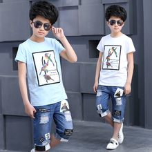 New 2017 Summer Boys Clothing Set Fashion Tee Tops+Casual Denim Pants 2 Pieces Suit Children Brand Sports Tracksuits Clothes