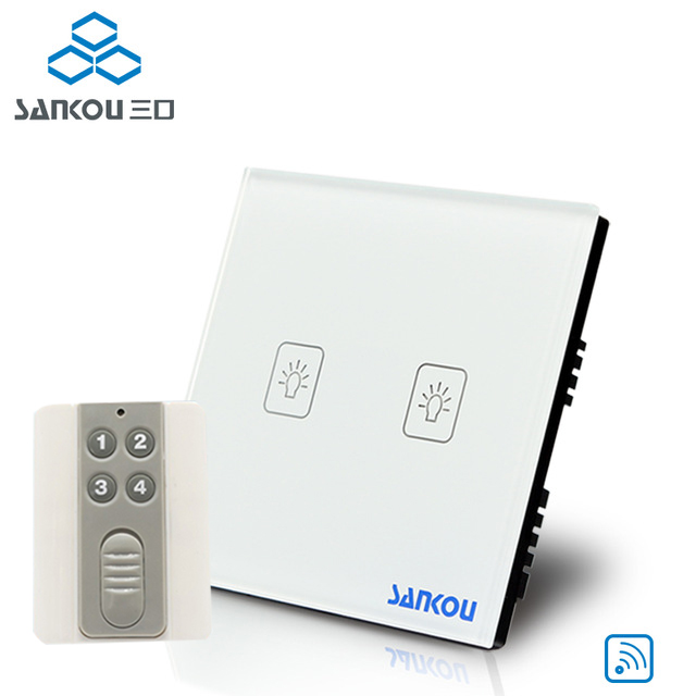 SANKOU UK standard remote control switch 2gang touch light switches for led AC110V220V white glass wall lamp switch <br>