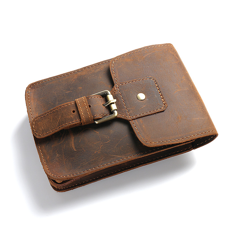 Genuine Leather Men Travel Wallet Vintage High-Capacity Cool Purse Phone Wallet Document Organizer Luxury Crazy Horse Handmade<br>