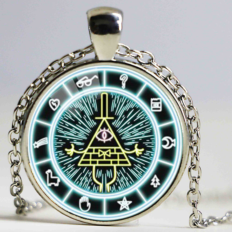 Drama Gravity Falls Light Blue Mysteries BILL CIPHER WHEEL Steampunk Pendant Necklace Fashion Jewelry(China (Mainland))