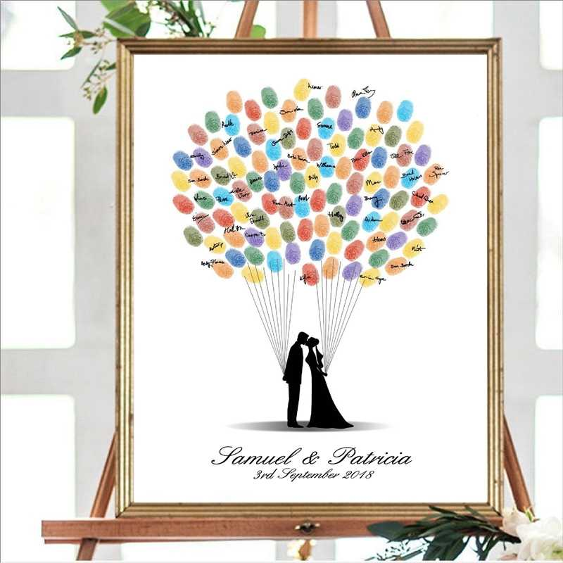 Personalized Wedding Decor Guest Book Canvas Art Prints and Poster , Fingerprint Guestbook Custom Wedding Gift for Couple