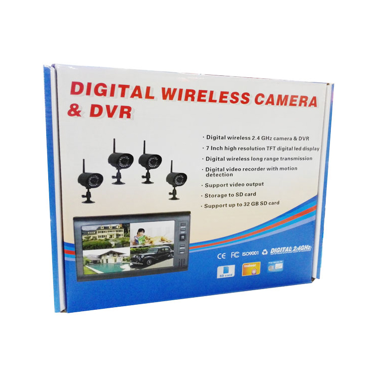 2.4Ghz Wireless Baby Monitor Kit Concluding 4Ch Digital Waterproof Bullet Camera and 7inch TFT LCD Monitor with QUAD Display_P1