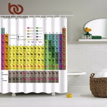 "BeddingOutlet Periodic Table of Chemical Elements Theme Bathroom Shower Curtain Polyester Waterproof Bathroom Set 71"" x 71"""