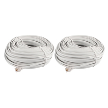 30M 98ft RJ11 6P4C Telephone Extension Cable Connector Off White