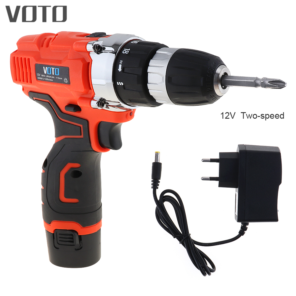 VOTO AC 100 - 240V Cordless 12V Electric Screwdriver with Rotation Adjustment Switch and Two-speed Adjustment Button<br>