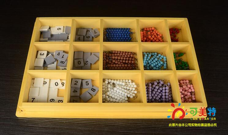 Montessori Materials Blocks Beads Calculate Box Contrast Beech Wood Math Tools Early educational toys  Can Smarter <br>