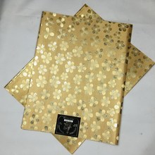 Sego Headtie High Quality African Headtie,Flower Design African Gele&Ipele 2pcs/pack Light Gold