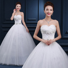 Real Photos Korean Cheap Strapless Lace Wedding Dresses Strapless Crystal Princess Long Strapless Bridal Gowns for Wedding